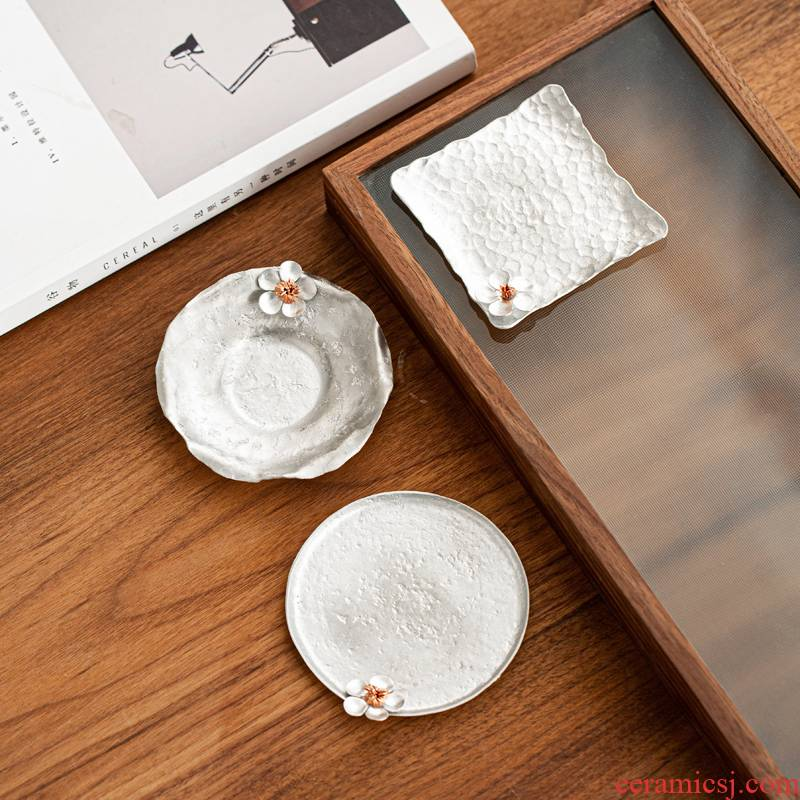 Japanese manual name plum pure tin cup mat a tin cup tea cup pad insulation cup dish kung fu tea tea MATS