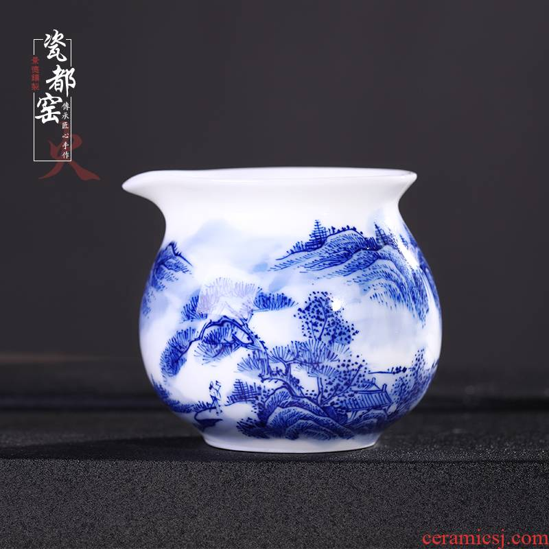 Jingdezhen up the fire which hand - made mountain water is blue and white porcelain ceramic male cup tea points sea fair cup a cup of tea