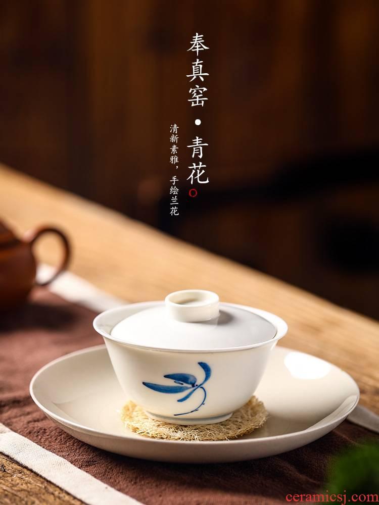 Jingdezhen tea is tea tureen the hot hand orchids white blue and white porcelain kung fu tea art household contracted tea set