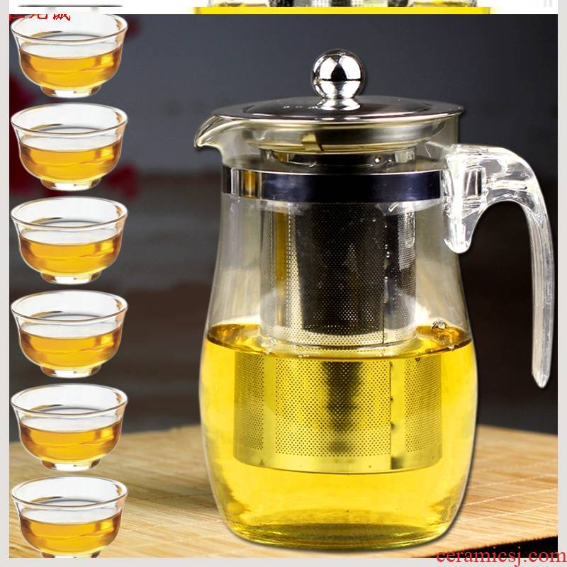High - temperature thickening office and exquisite glass teapot can unpick and wash the filter tea set