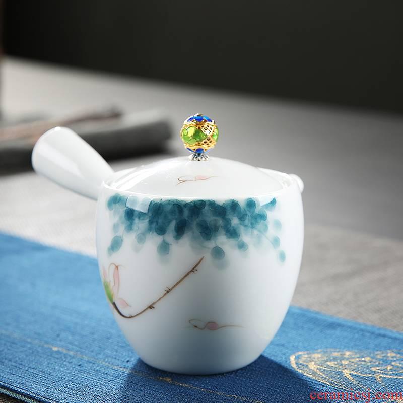 Fujian and hand - made ceramic teapot contracted household tea single pot of Japanese kung fu tea set white porcelain teapot side suit