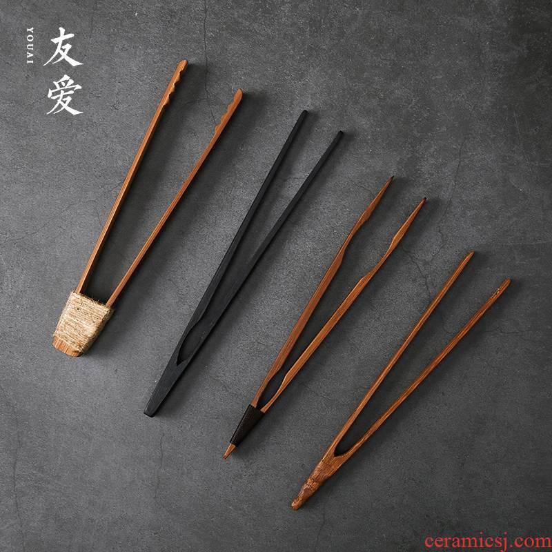 Love ChaGa bamboo bamboo products bamboo cups clip kung fu tea set tweezers than copper tea 6 gentleman accessories