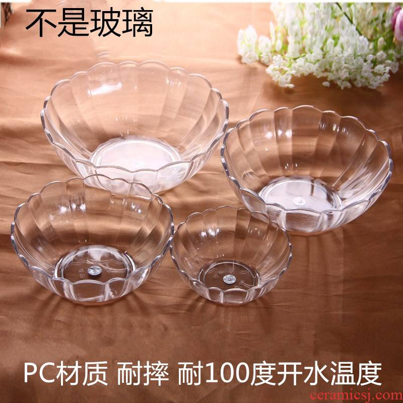 PC transparent to hold cast acrylic fruit salad bowl lotus fruit basin dou plastic hand washing bowl lotus tea bowl bowl