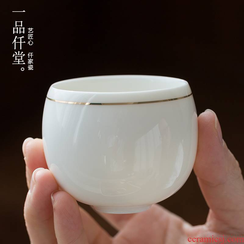 Yipin # $Japanese ceramic cups single master cup 2 hand - made gold line personal cup tea cups of kung fu tea set