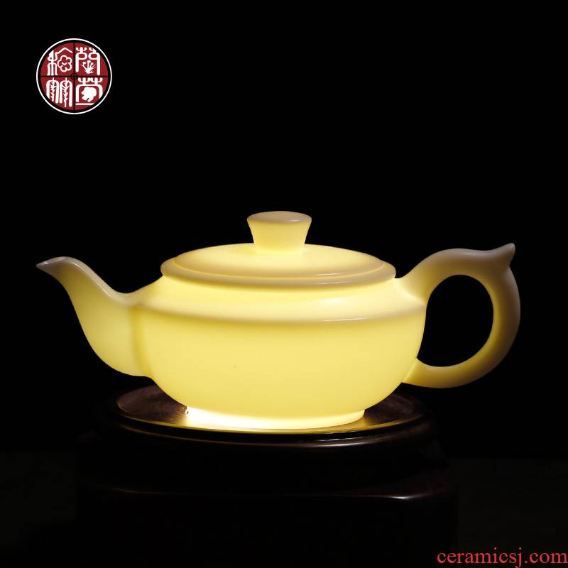 By patterns guo - jin zhang han flat pot dehua white porcelain ceramic teapot tea mercifully single pot of kung fu tea