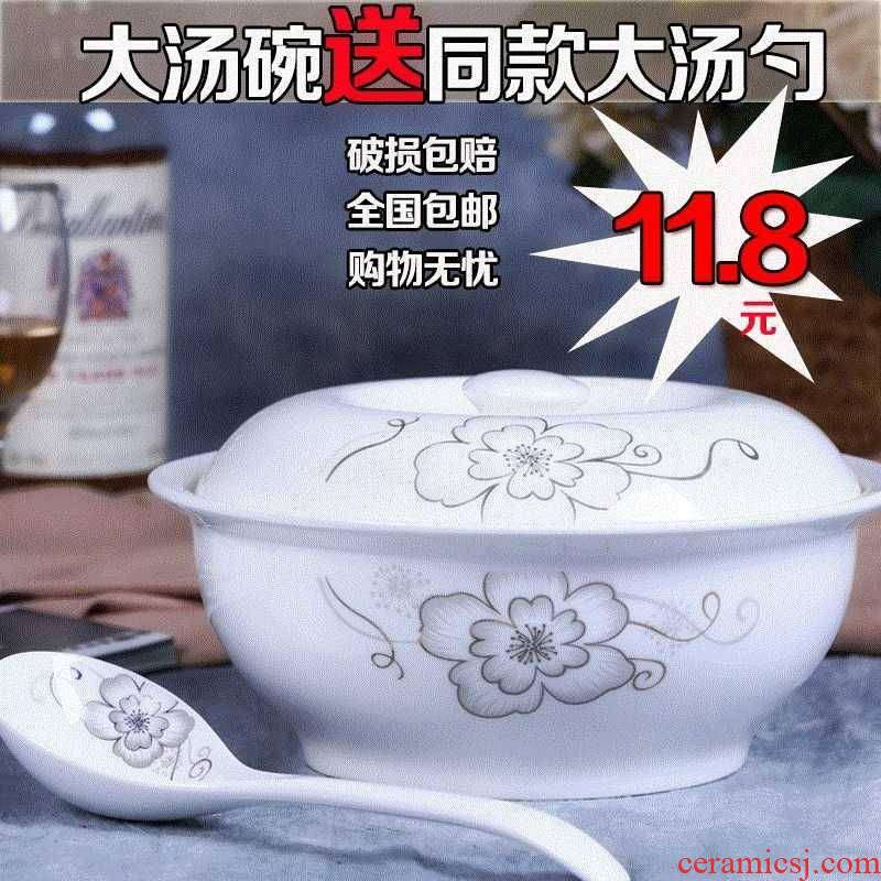 The Soup bowl creative jingdezhen ancient Soup basin product pot with cover household utensils large - sized big jingdezhen microwave scene