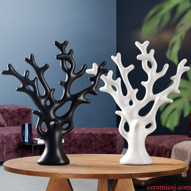 Modern creative furnishing articles rich tree home sitting room porch tea table TV ark adornment furnishing articles ceramics handicraft