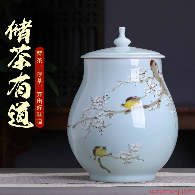Hand - made ceramic glaze under the name plum flower seal caddy fixings large household puer tea cake store up receives general big yards