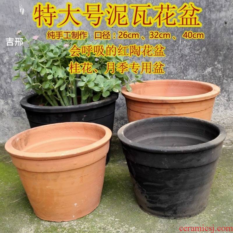 Place like red clay ceramic thick clay POTS made of baked clay permeability old is suing garden flowerpot planting soil made of baked clay mud old - fashioned