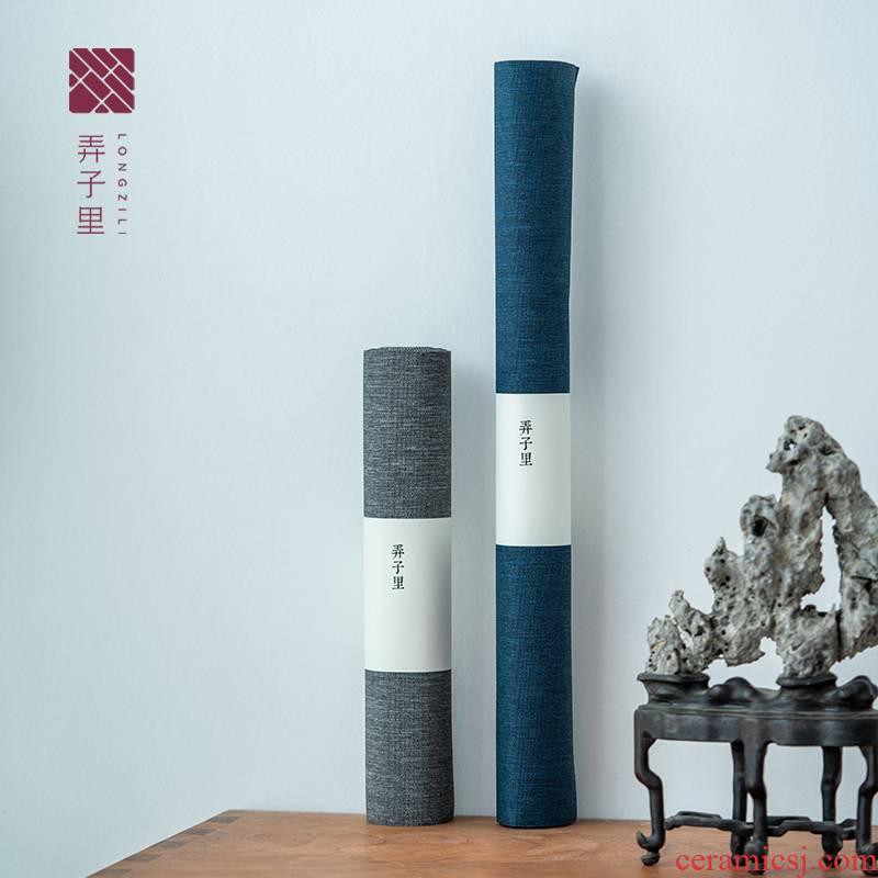 Lane. Waterproof tea table cloth art zen Chinese tea tea tray mat flag cloth simple pure color tea taking