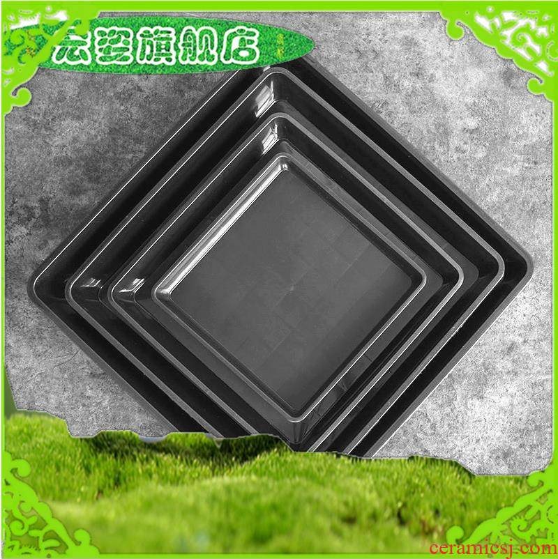Cement flowerpot bottom water pans, black plastic tray base square round large flower pot base receptacle