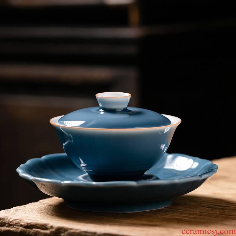 Fujian only three in tureen ceramic cups ji blue glaze craft large single tea bowl household kung fu tea set