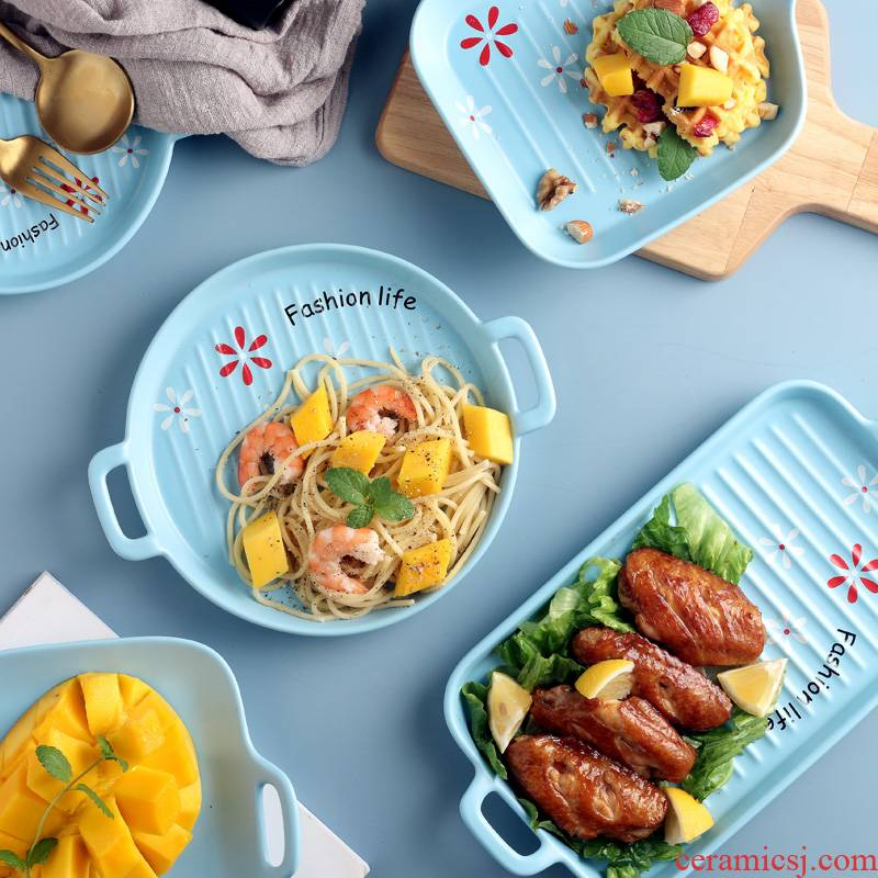 Ceramic pan ears creative dish dish dish home cheese baked FanPan bowl of microwave oven special dishes
