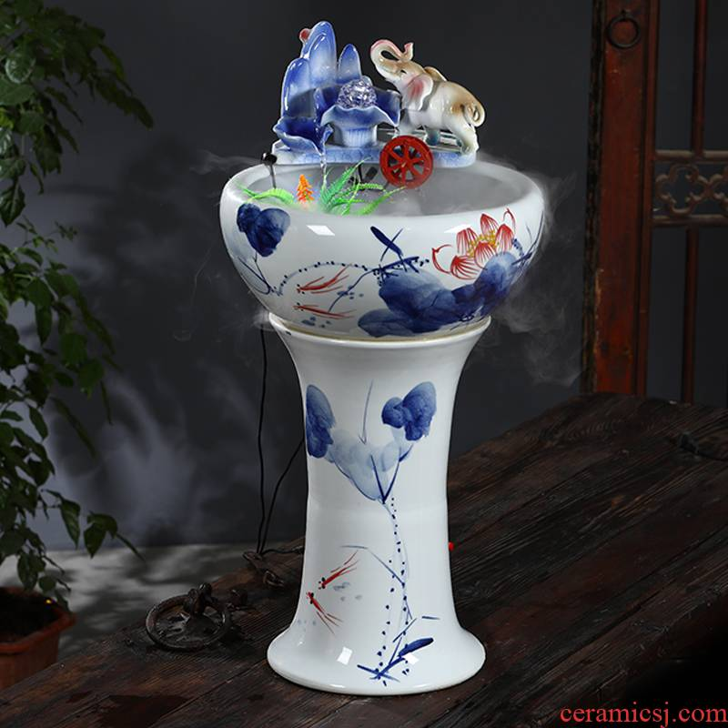 Jingdezhen ceramic filter tank home sitting room goldfish bowl pillar landing fish basin circulation flow tank