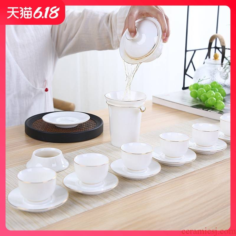 Guest comfortable suet jade porcelain household ceramics tureen resistant paint kung fu tea business gifts customized packages
