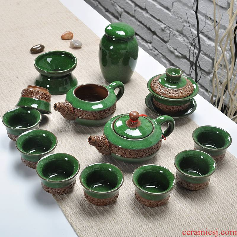 Art of a complete set of ice to crack kung fu tea set suits for relief dragon family teapot tea tureen tea caddy fixings