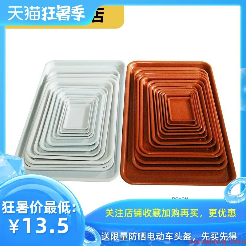 Rich, leaking white large base chassis and tray tray was water white rectangular plastic red flower POTS, pans