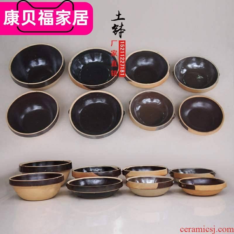 Fantastic hotel soil household pot nostalgic retro coarse porcelain clay bowl upset traditional clay soil bowl bowl color tableware