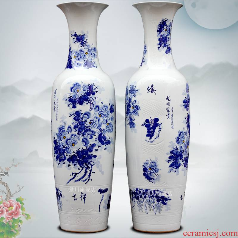 Jingdezhen ceramic hand - made blooming flowers large vases, flower arrangement home sitting room hotel office furnishing articles