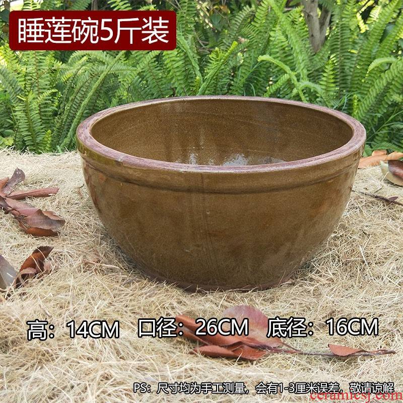 Old ceramic large household fish tank yard small basin of water lily to heavy cylinder pickles earthenware tile cylinder cylinder lotus