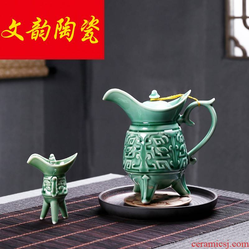 Hip flask antique Chinese pottery and porcelain wine suit white wine wine wine jingdezhen points method of domestic wine pot