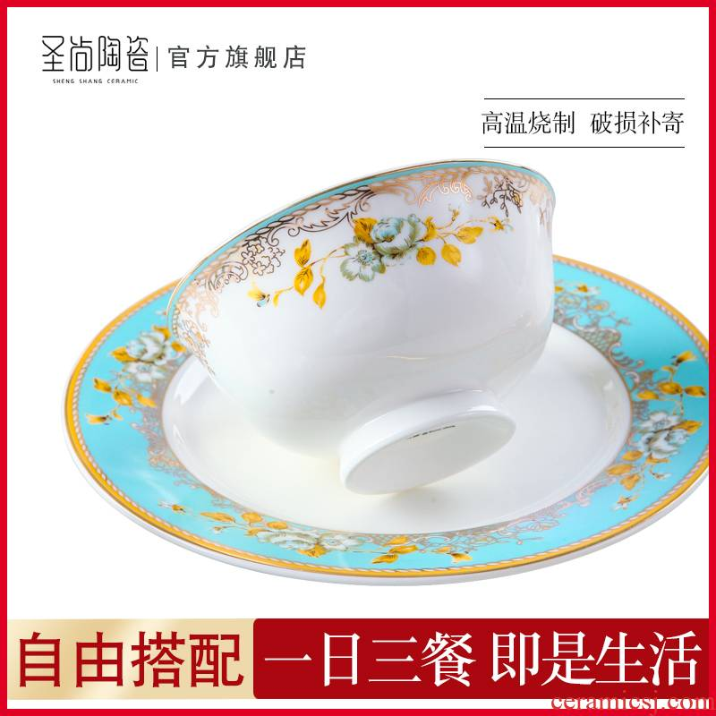 Champs elysees DIY free collocation with jingdezhen light much tableware bowls of household rainbow such as bowl dish big spoon, soup pot