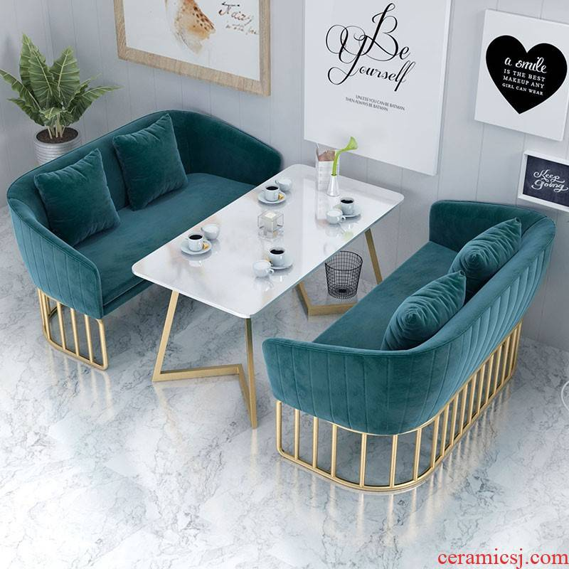 Milk tea shop sofa chairs combination cafe, reception booth negotiate restaurant dessert shop small sofa sofa