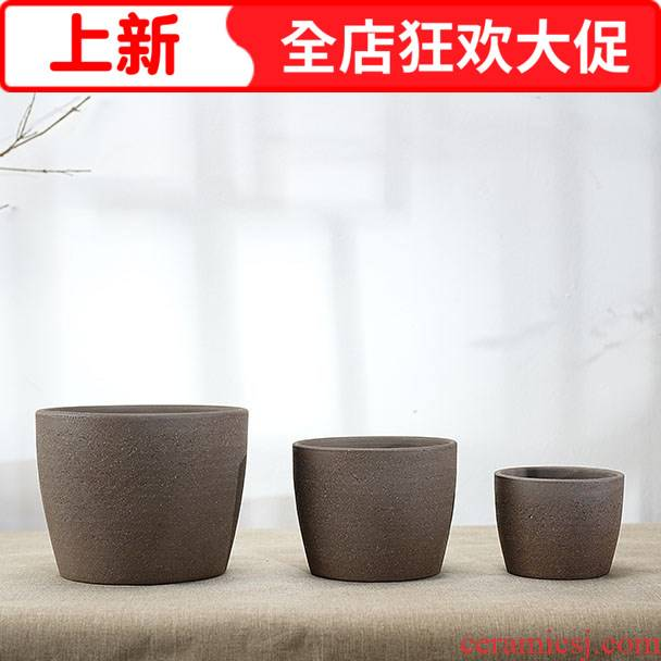 Purple sand flowerpot ceramic thick black pottery clay breathable trumpet Nordic desktop circular contracted wind restoring ancient ways more meat basin