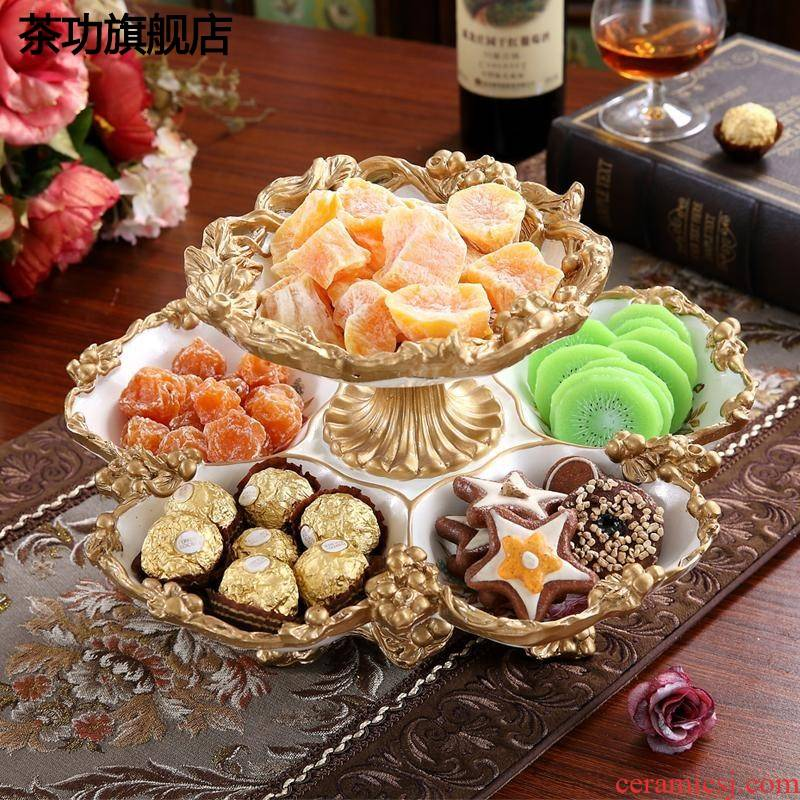 Sitting room creative double fruit bowl dessert plate household household adornment dry fruit bowl tea table furnishing articles snack boxes