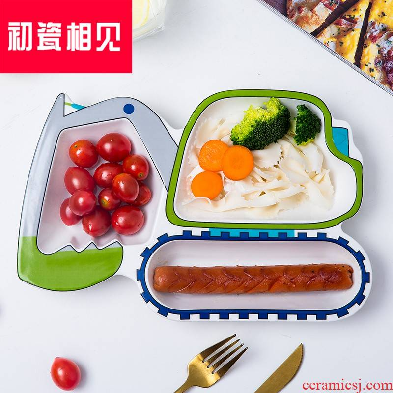 Porcelain meet each other at the beginning of meal plate creative ceramic plates and lovely cartoon baby FanPan plane plate frame plate