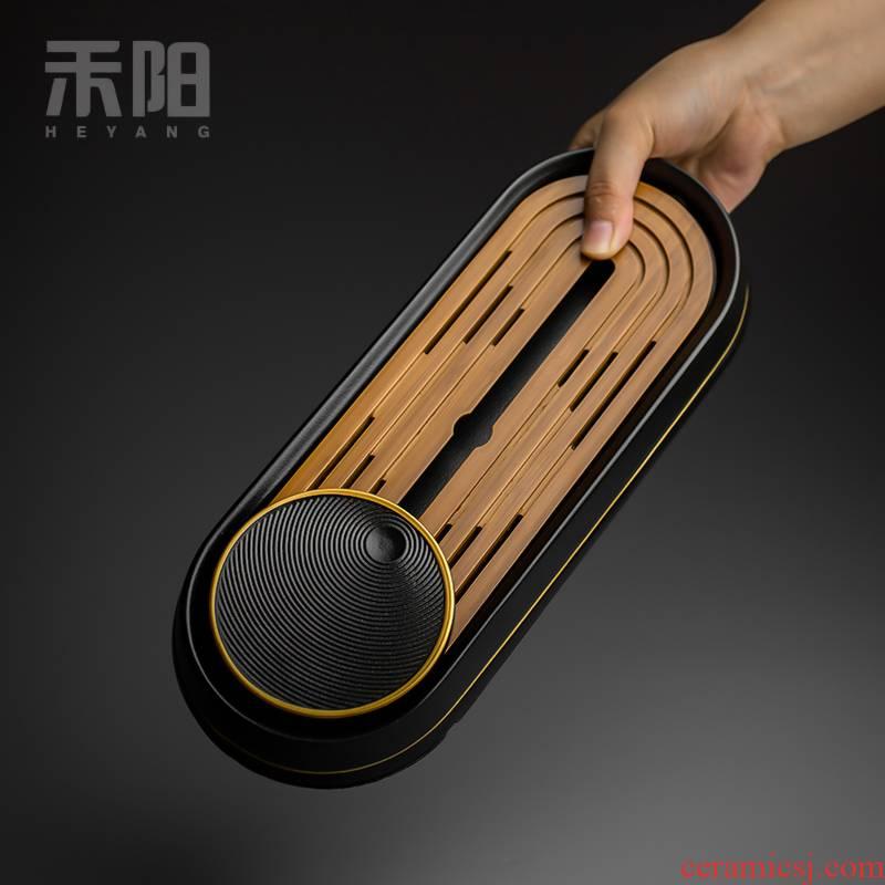Send Yang creative water bamboo tea tray ceramic surface dry plate of small household mini tea tray tea sea kung fu tea set