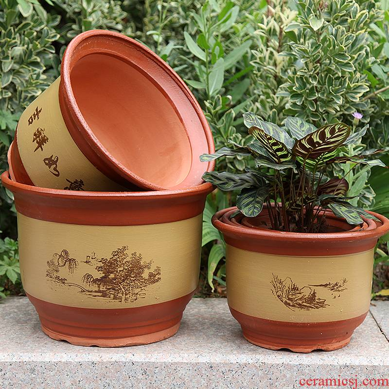 Flowerpot ceramic flower pot special offer extra large flower pot basin purple sand Flowerpot fall to the ground orchid potting soil coarse pottery Flowerpot
