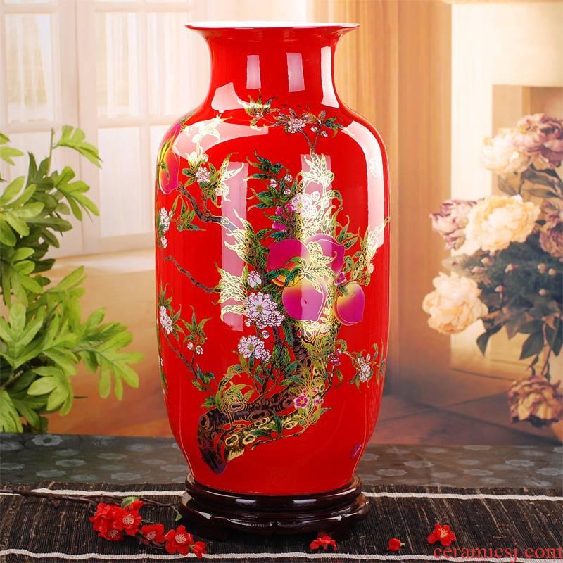 314 modern Chinese jingdezhen ceramics vase of red peach home furnishing articles sitting room ground vase