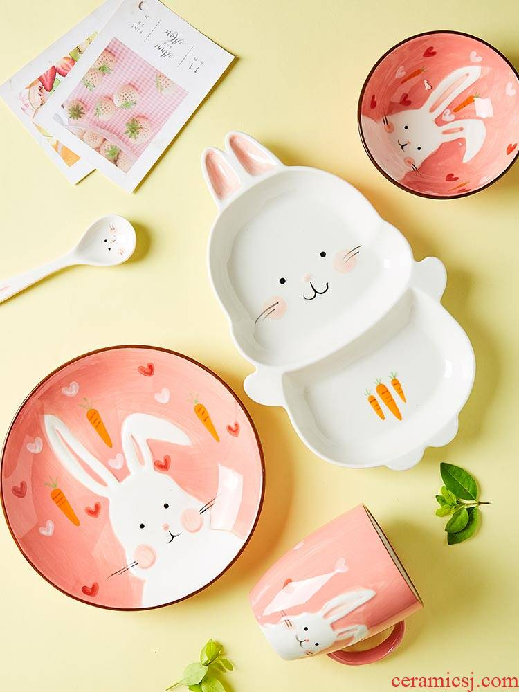 Lovely baby animals ceramic bowl tableware cartoon dinning plate one children eat breakfast dishes suit household