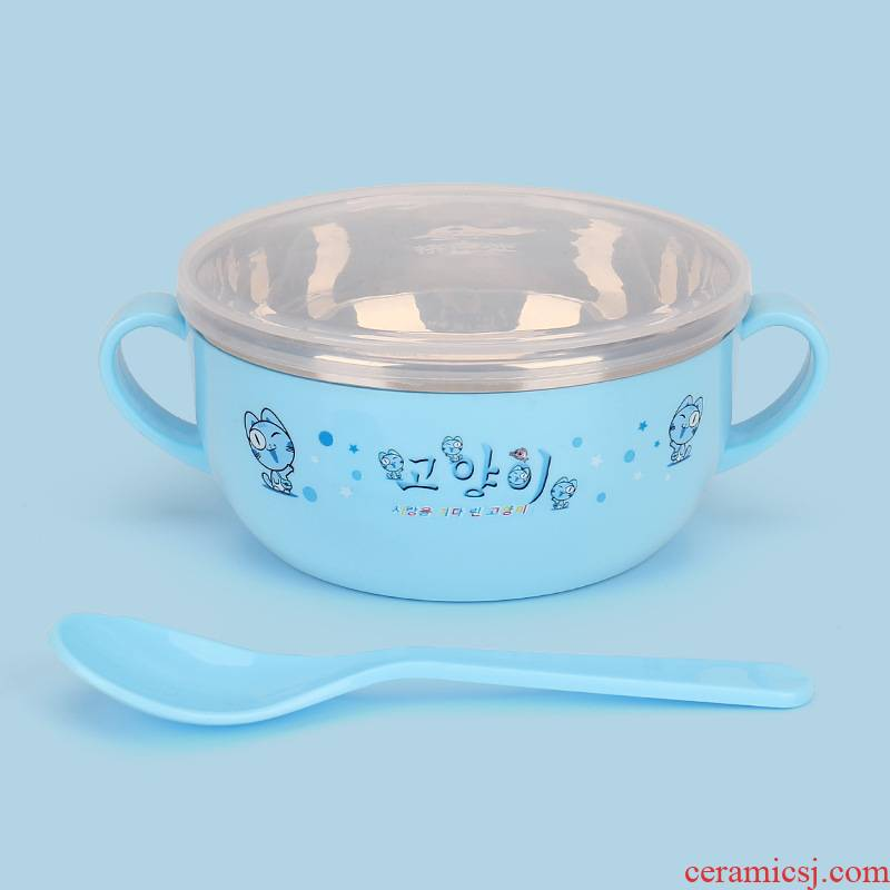 Baby drop tableware Baby eat rice bowl bowl children cartoon stainless steel with a lid seal against the hot dishes