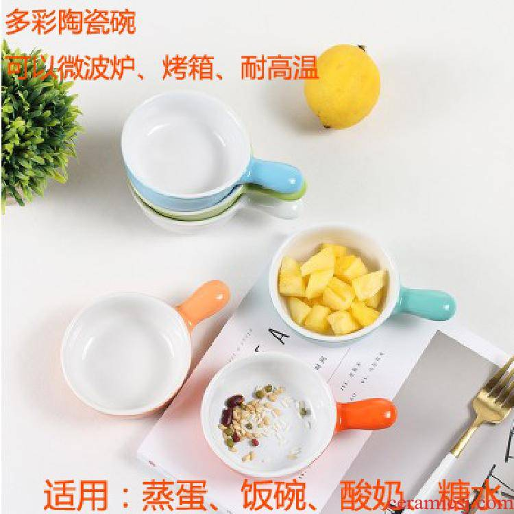 Baking steamed egg bowl bowl for household with handle ceramic bowl Baking cup cake pudding bowl bowl of yogurt dessert sauce bowl