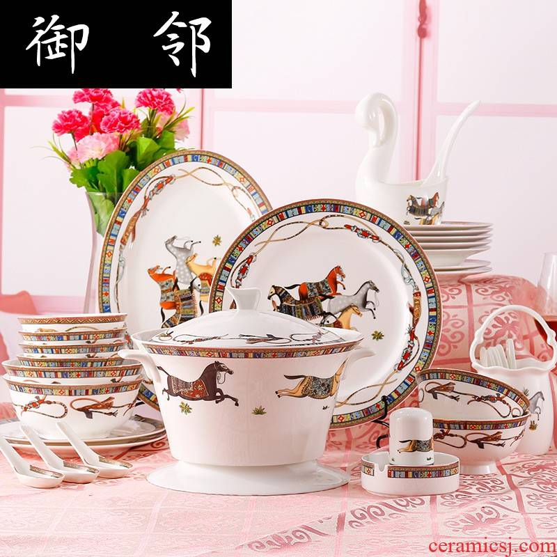 Propagated European - style key-2 luxury ipads porcelain tableware suit jingdezhen ceramics housewarming gift hermes 60 first bowl of plates