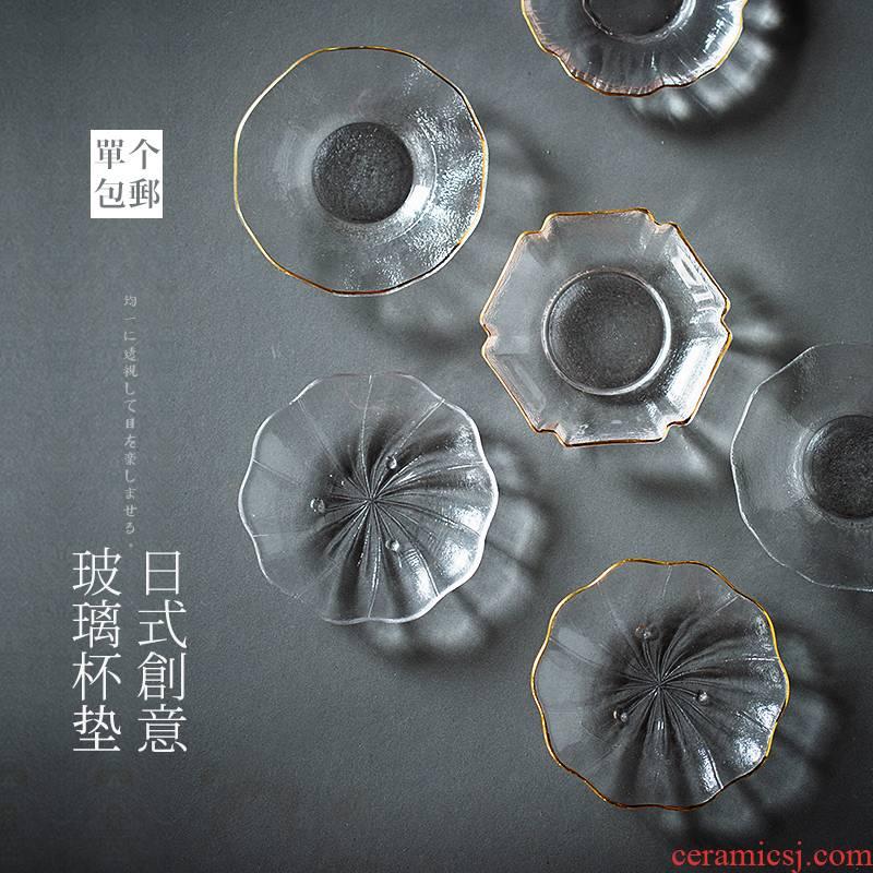 Japanese heat - resistant glass saucer transparent insulation MATS hammer tea cup mat accessories tea saucer