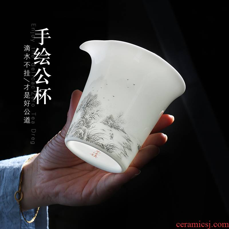 Jingdezhen up the fire which hand - made scenery just a cup of tea in tea ware ceramic household single sea tea accessories