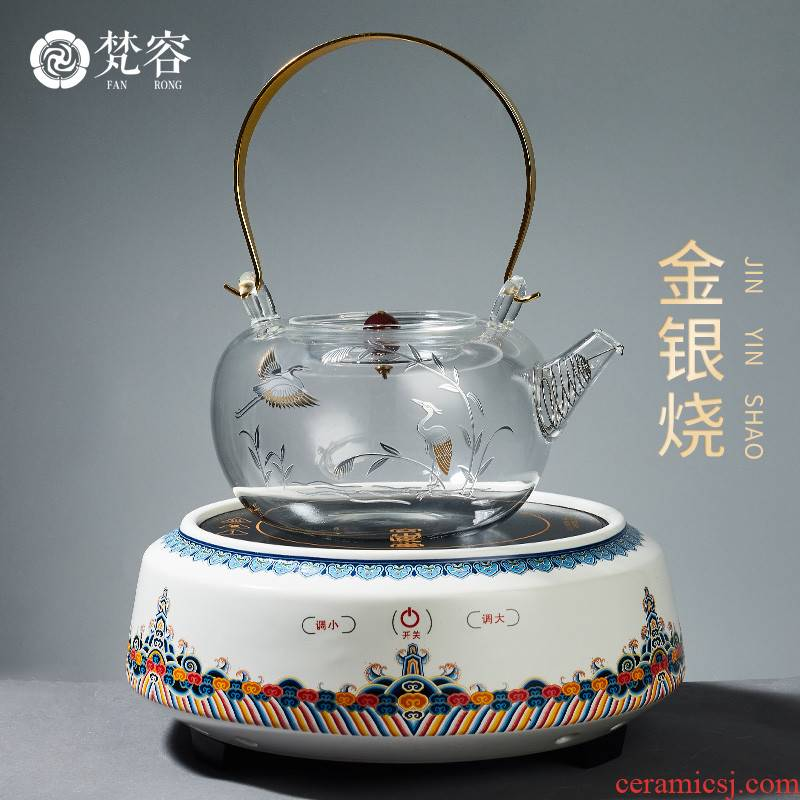 Vatican burn it let the gold and silver glass electric kettle TaoLu household palace Japanese cooking pot tea, tea set