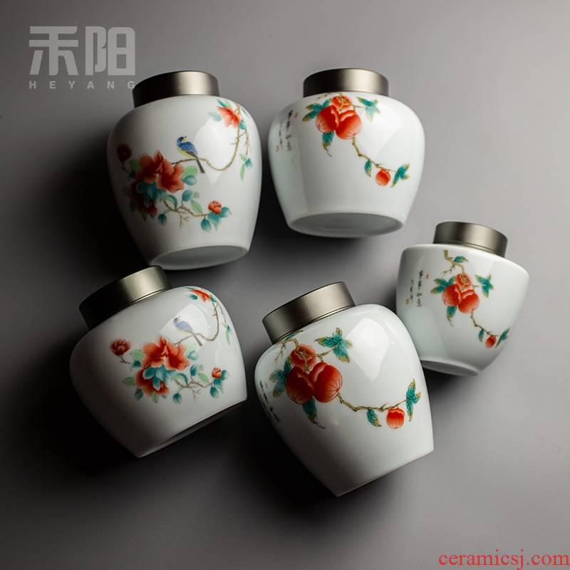 Send Yang ceramic tea caddy fixings warehouse household seal up tea POTS organizing, caddy fixings box set