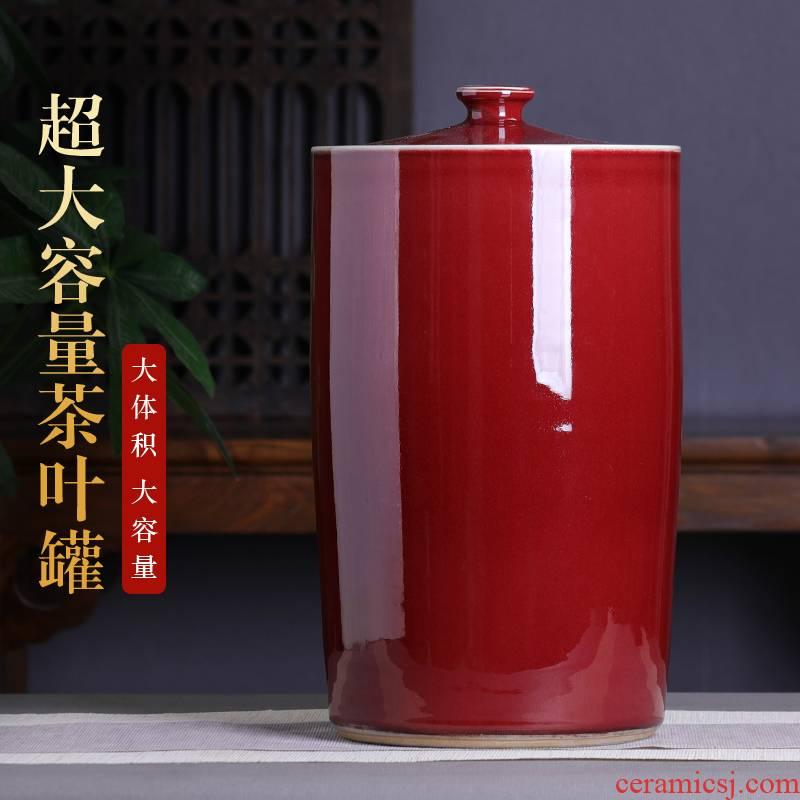 Jingdezhen red tea pot 15 extra large ceramic tea pot tea cake tea urn home tea storage tanks