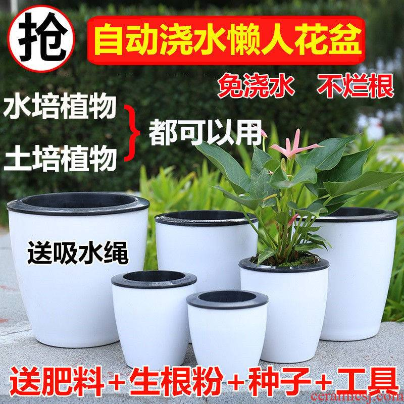 Upset with automatic suction lazy flowerpot more than other rich tree meat plant POTS imitation ceramic plastic flower POTS