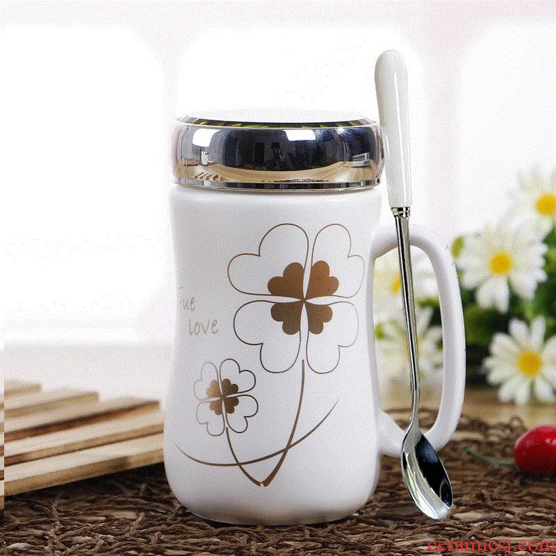 Glass package mail beaker of water move with cover ceramic spoon household male and female adult mark cup with cover