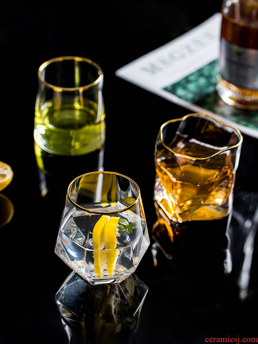 Whiskey glass more domestic diamond crystal glass, the glass heat - resisting European beer glass tea cup