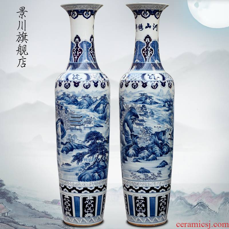Jingdezhen ceramics antique hand - made of blue and white porcelain vase splendid was the French hotel decoration furnishing articles