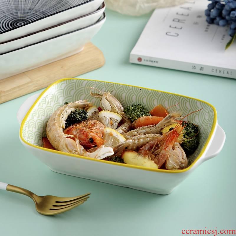 Jingdezhen ceramic dish dish dish household Japanese - style square ears roasted bowl of creative move tableware, pan - frying FanPan web celebrity