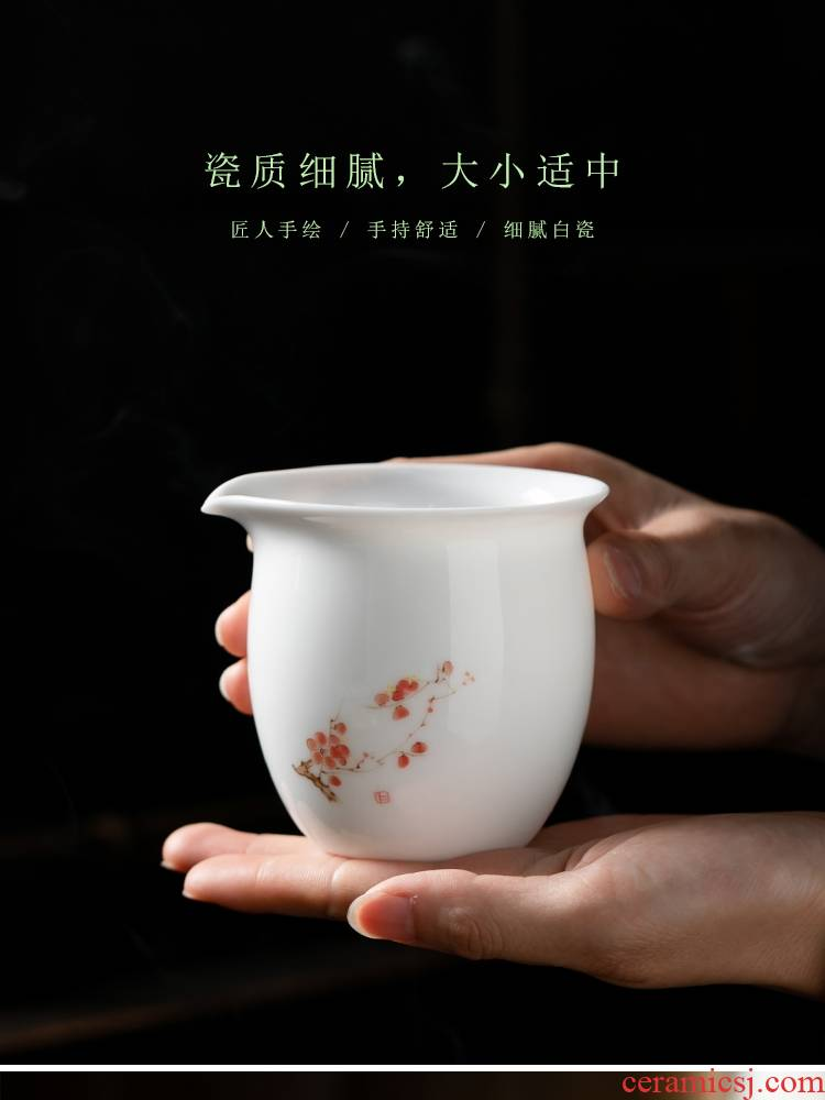 Fujian gen dehua ceramic fair keller contracted and I household hand - made white porcelain cup tea is tea sea kung fu tea set points