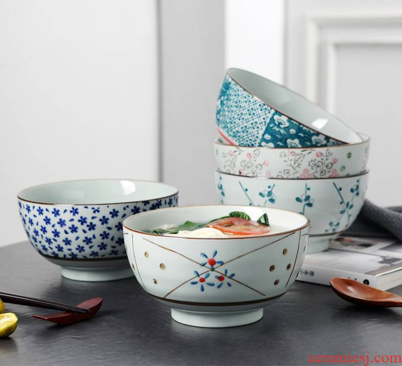 Hand - made ceramic 7 inches big rainbow such to use Japanese and rice bowls bowl mercifully rainbow such use creative blue - and - white bowl of porridge