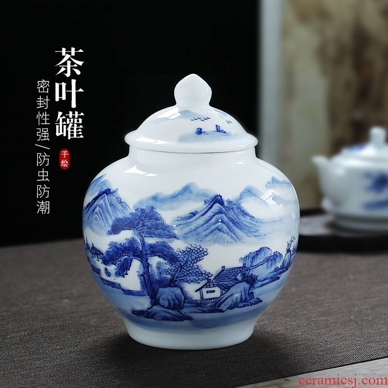 Jingdezhen up the fire which hand - made scenery of blue and white porcelain tea pot large general ceramic pot seal